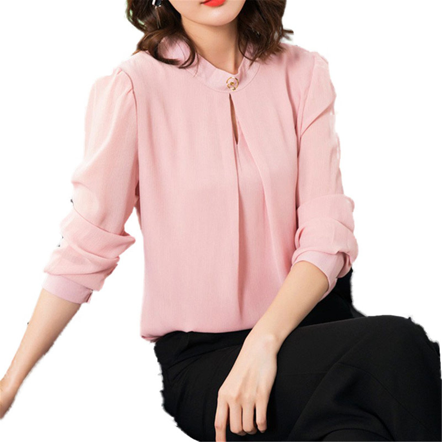 OUXIANGJU Women Spring Chiffon Blouse Casual Long Sleeve O-Neck Tops Solid Color Office Shirts at Amazon Womens Clothing store: