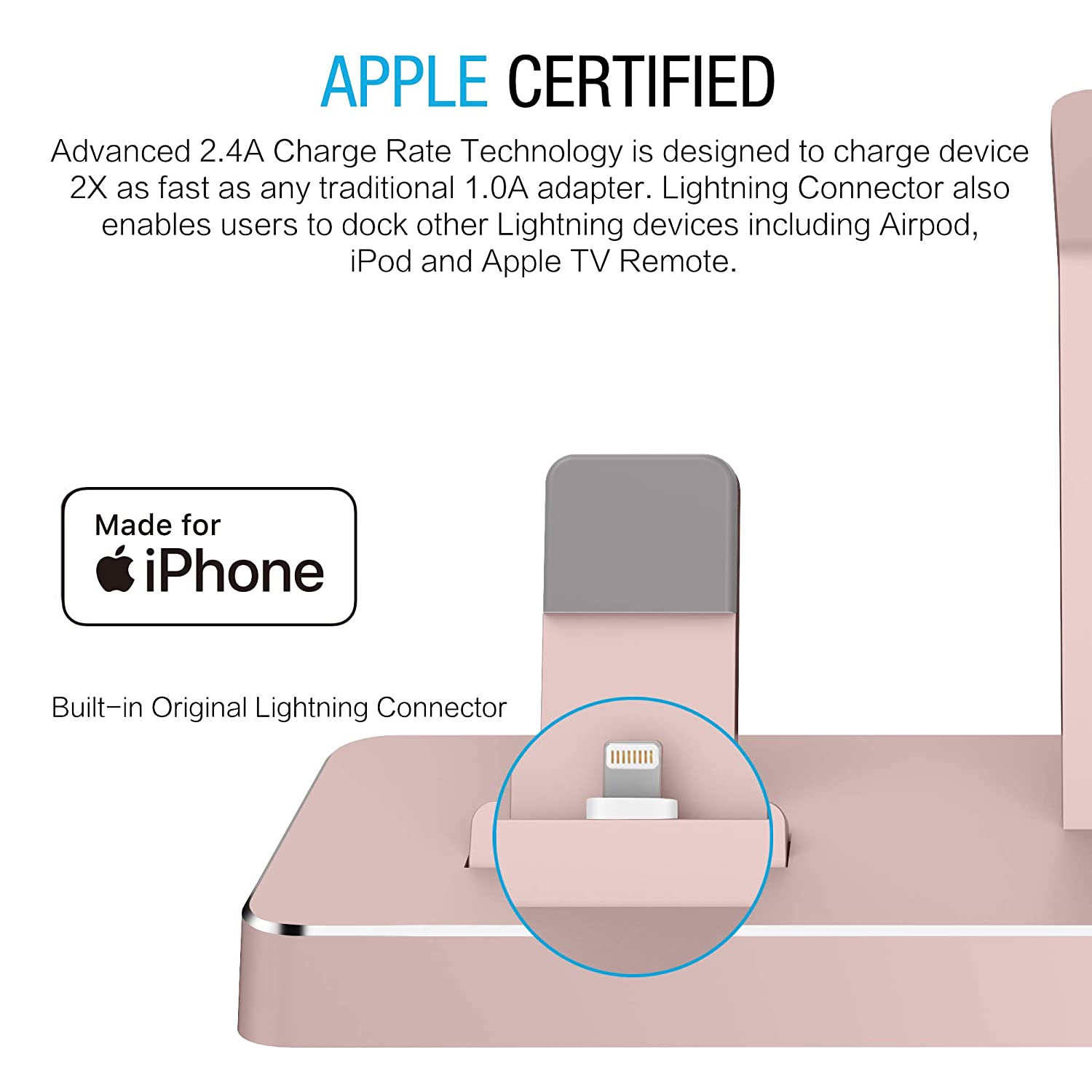 PRESS PLAY Charging Dock for Apple Watch & iPhone (Apple Certified), ONEDock Power Station w/Built-in Original Apple Lightning Connector for Docking, ...