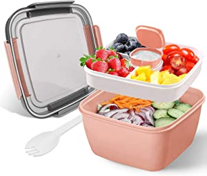 Eiwoda Lunch Container with Large 51-oz Bowl, 4-Compartment Bento-Style Tray 2 oz Salad container for Salad Toppings and Snacks, Built-In Reusable Fork, Meal, Snacks, Men, Women (Pink)