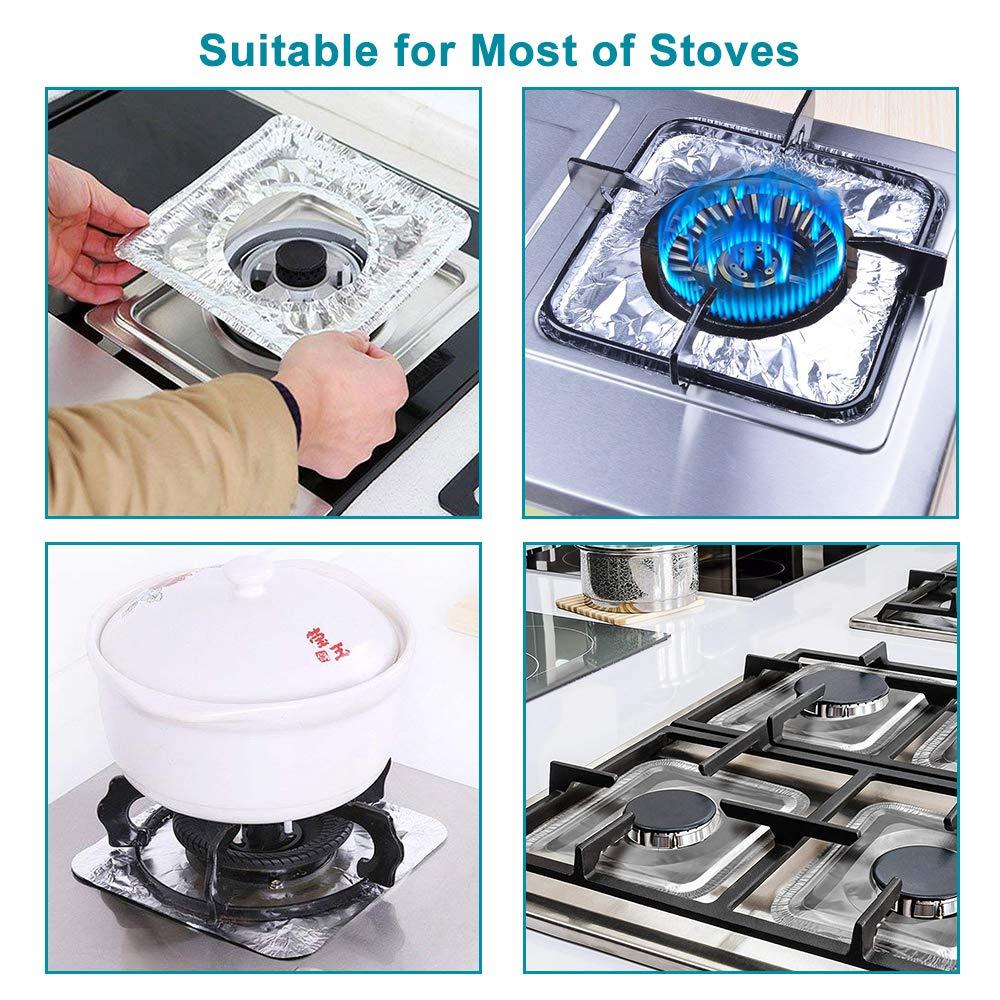 "B. SHINE Foil Stove Burner Covers - Aluminum Foil Gas Range Protectors Gas Stove Burner Liners, Disposable, Size 8.66""x 8.66"", 50 Pack"