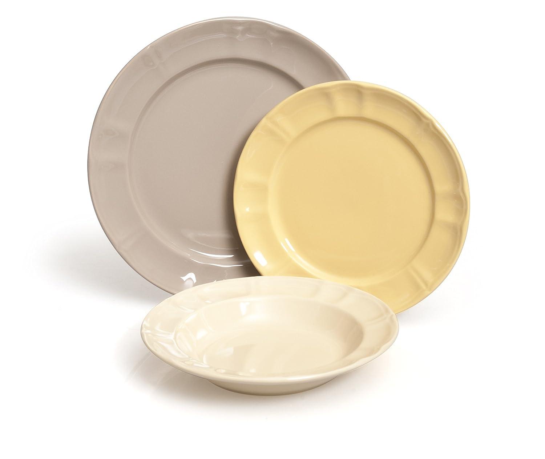 Ceramica unit/à Excelsa Country Chic Servizio Tavola 18 Pezzi 27x28x27 cm Cenere