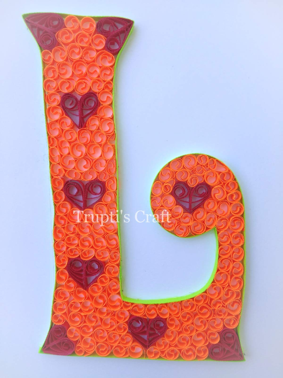 Paper Quilling Monogram 'L' Wall Frame/Wall Hanging/Home Decor/Gift / Children Room Decor/Monogram / Paper Quilling Gift