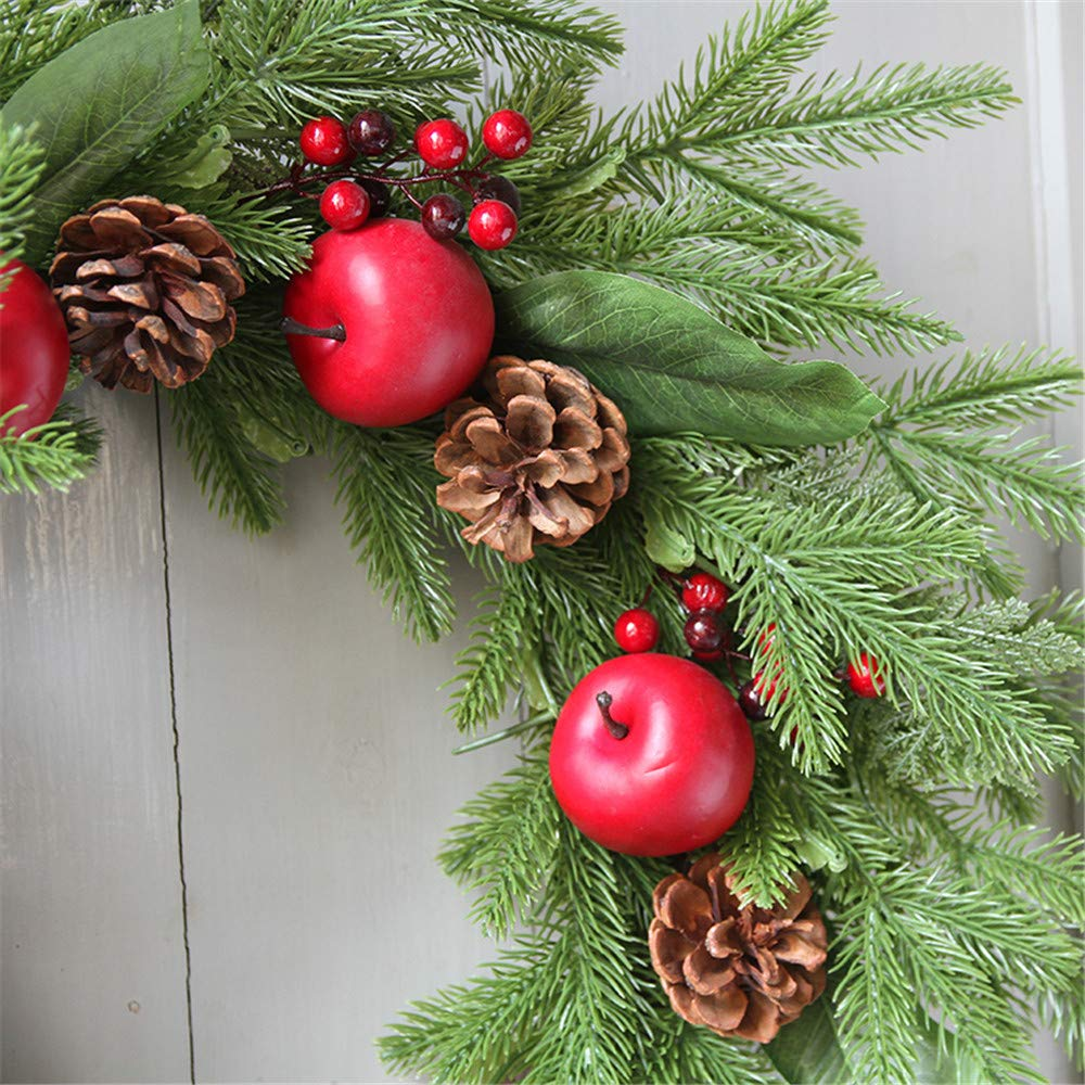 Promisen Christmas Wreath,Merry Christmas Garland Decorations with Red Berries Bells for Christmas Party Decor Front Door Wall,55-60cm Diameter (A) by Promisen (Image #4)