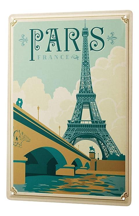Amazon.com: Cartel de chapa Gira Mundial París Francia Torre ...