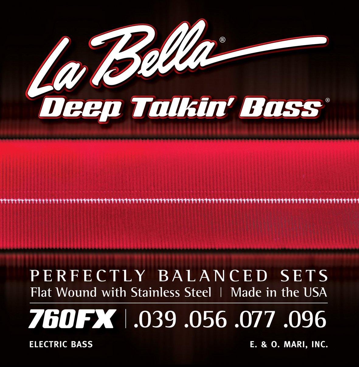 La Bella Deep Talkin' Bass Flatwound- / Saitensatz für Bassgitarre aus Edelstahl LABELLA 760FS