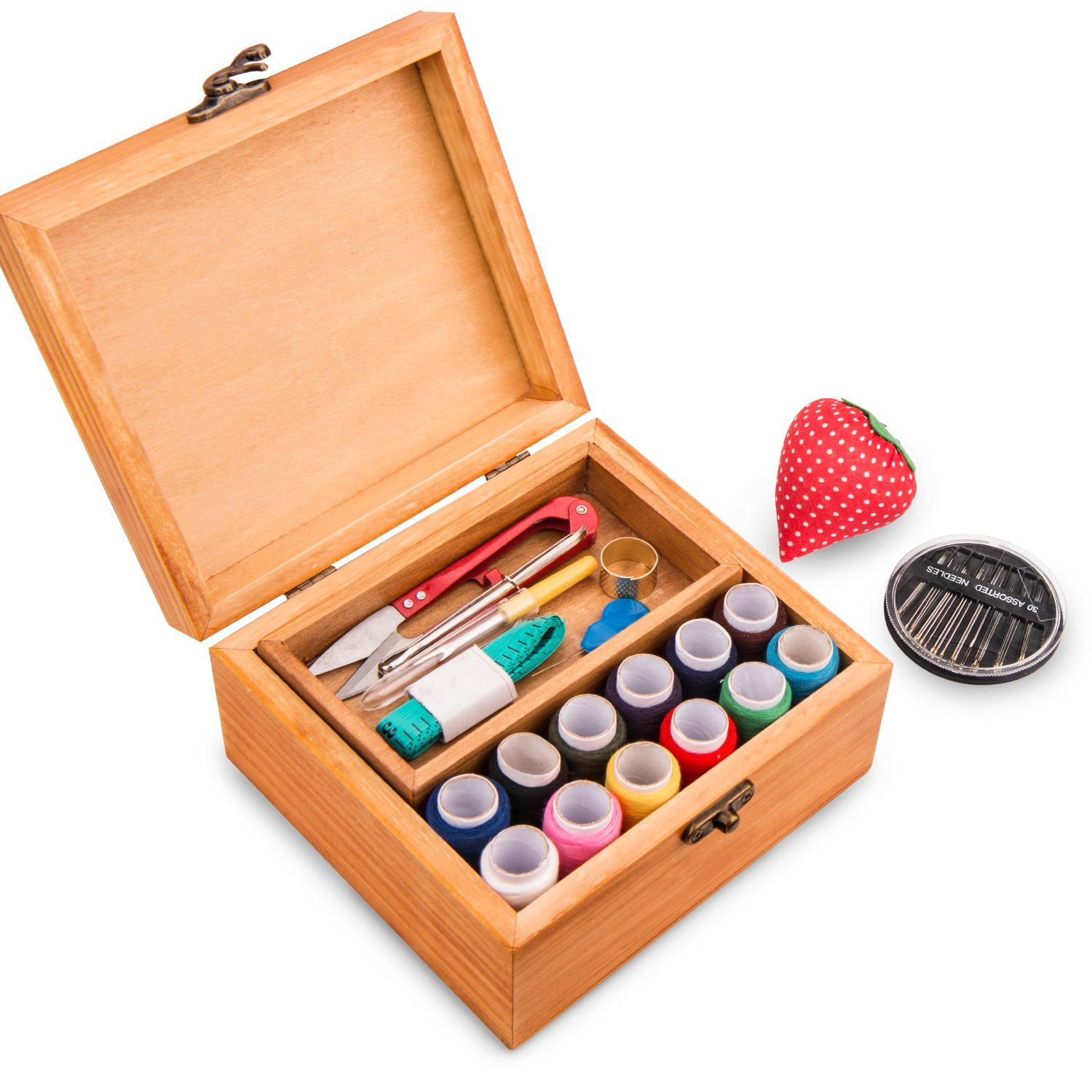 Sewing Kit BATTOP Wooden Sewing Box with 49PCS Premium Sewing Accessories for DIY Beginners Emergency Home Travel 4337015556