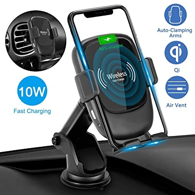 AmyZone Fast Wireless Car Charger Mount Qi 10W Air Vent/Dashboard Auto Clamping Phone Holder for Car Compatible iPhone 11 Pro/11 Pro Max/Xs MAX/XR/X/8 Plus Samsung S10/S9 Note 10/9 Google Pixel 3/4XL