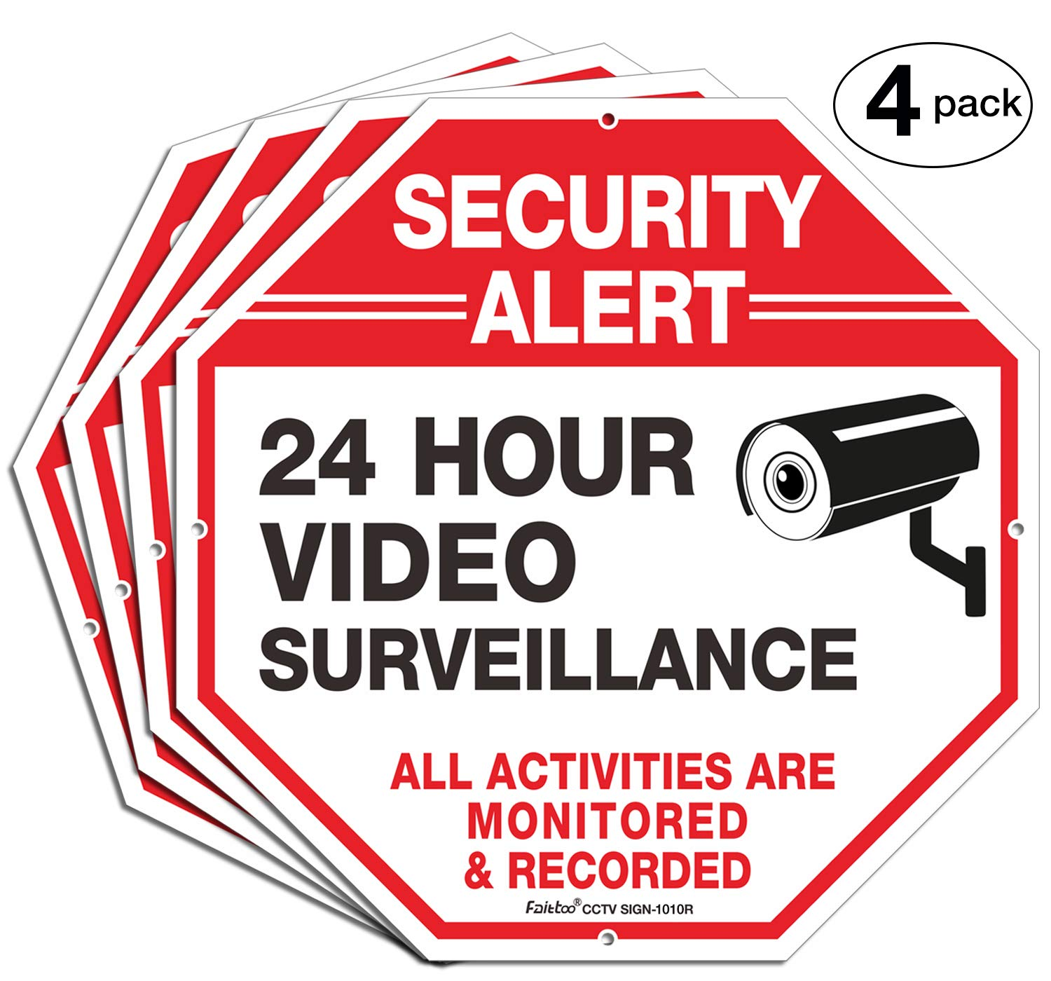 (4 Pack)''Security Alert, 24 Hour Video Surveillance, All Activities Monitored'' Signs,10 x 10 .040 Aluminum Reflective Warning Sign for Home Business CCTV Security Camera, Indoor or Outdoor Use by Faittoo