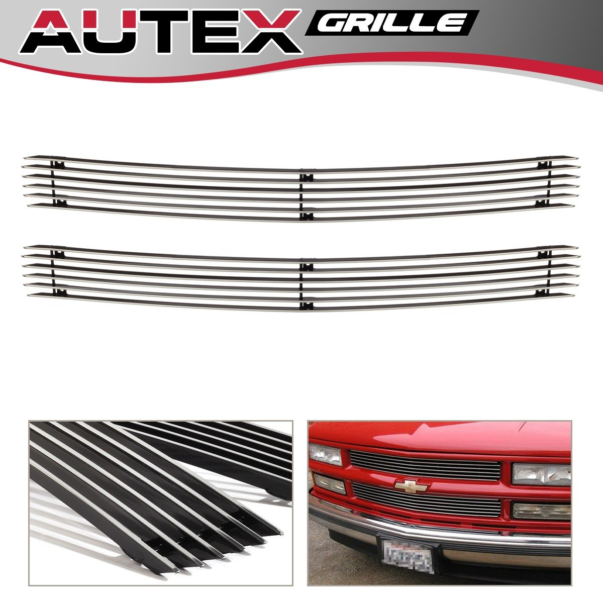 1994-1999 Chevy Blazer AUTEX 2pcs Main Upper Billet Grille Insert Chrome Aluminum C65706A Compatible With 1994-1999 Chevy C//K Pickup 1994-1999 Chevy Suburban Tahoe
