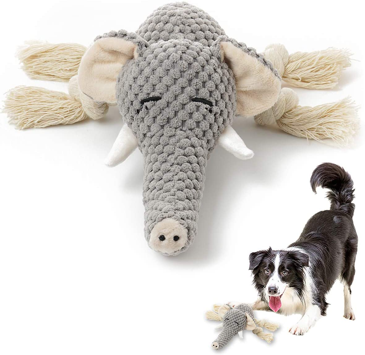 Kitchen & Dining : Plush Dog Toy, Squeaky Interactive Puppy Dog Toys with Crinkle Paper, Durable Chew Toys for Small and Medium Dogs with Elephant Shape :