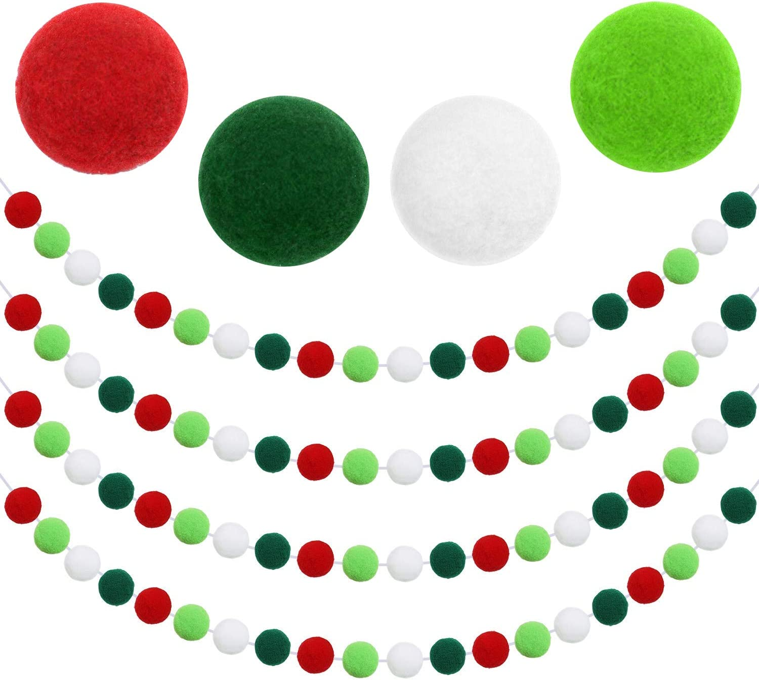 Aneco 4 Pieces Christmas Felt Ball Garland Christmas Felt Banner Christmas Felt Ball Pom Pom Garlands for Christmas Door Room or Indoor Birthday Party