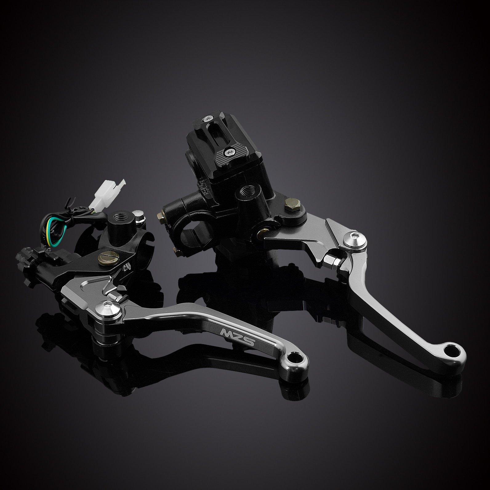 MZS 7/8 Brake Master Cylinder Reservoir Pivot Levers Set for Honda Yamaha Suzuki Kawasaki KTM (Gray) by MZS (Image #2)