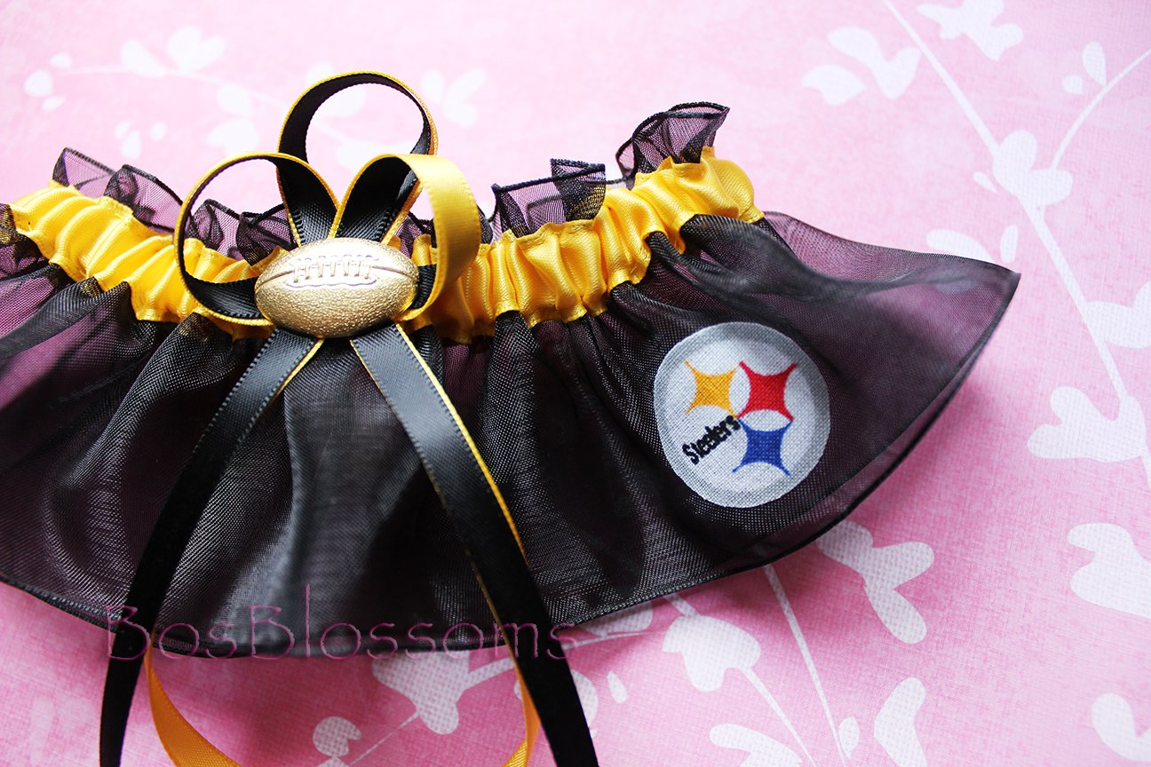 Pittsburgh Steelers white fabric handmade into garters on black organza bridal prom wedding garter set with football charm Customizable