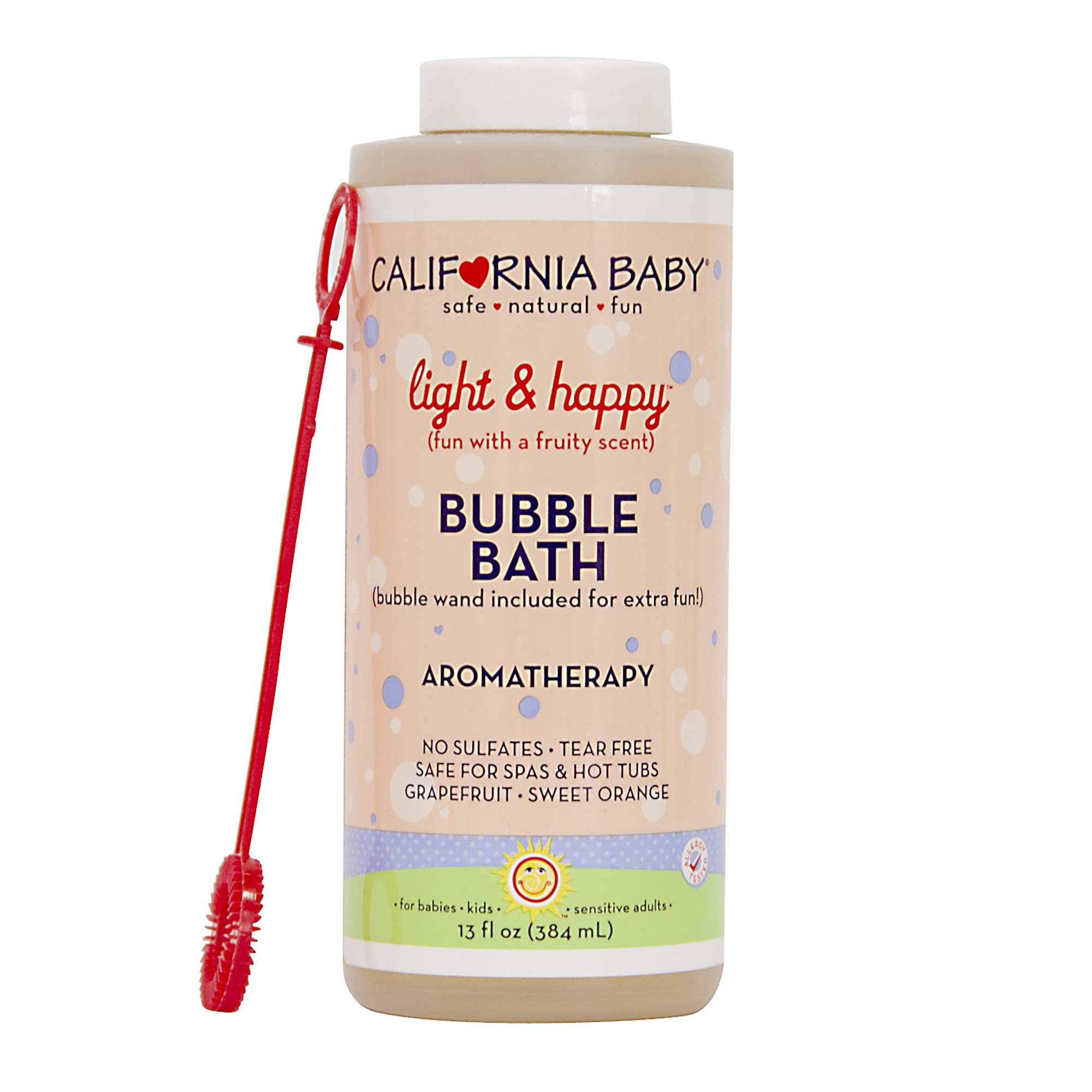 California Baby Light and Happy Bubble Bath | No Tear | Pure Essential Oils for Bathing | Hot Tubs, or Spa Use | Moisturizing Organic Aloe Vera and Calendula Extract |(13 fl. ounces) by California Baby