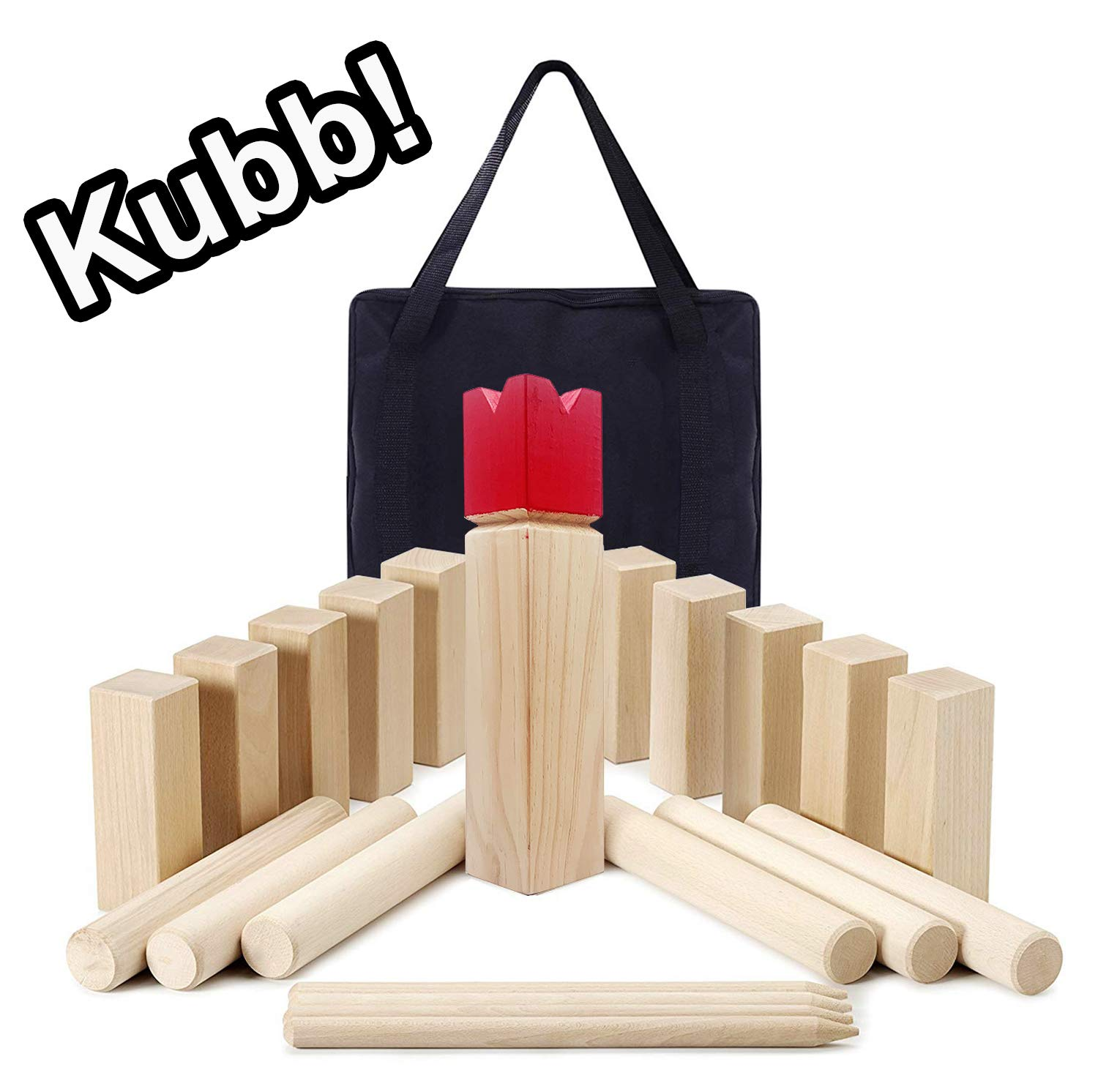 Reliancer Kubb Game Set Wooden Outdoor Lawn Game w/Storage Bag Backyard Tossing Grass Game Hardwood Kubb Party Team Game Swedish Viking Chess Beach Strategic Kubb Family Games for Yard Wedding BBQs
