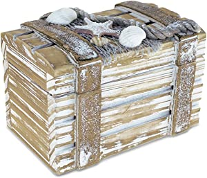 "Puzzled Baja Small Rustic Wood Nautical Jewelry Box, 4.25"" x 2.75"" Handcrafted Hinged Lid Starfish Seashell Decor Keepsake Desk Organizer or Gift Box for Rings & Trinkets - Beach Home Decor Stash"