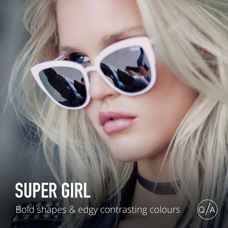 Quay Australia SUPER GIRL Women/'s Sunglasses Oversized Cat Eye Flashy