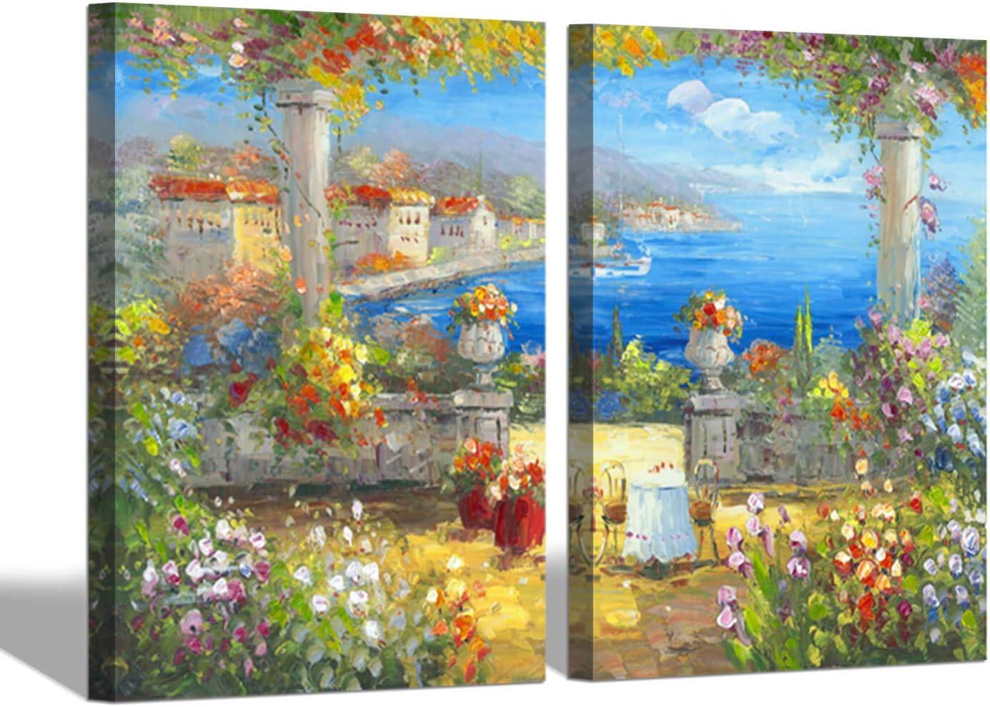 Amazon Com Abstract Italian Landscape Wall Art Coastal Flowers