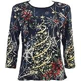 "Jess & Jane ""Christmas Joy"" Cotton Top in Black 14-1077"