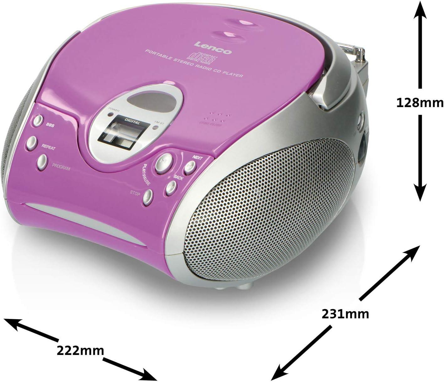 Lenco SCD-24 - Radio FM estéreo (Reproductor de CD y Antena telescópica) púrpura