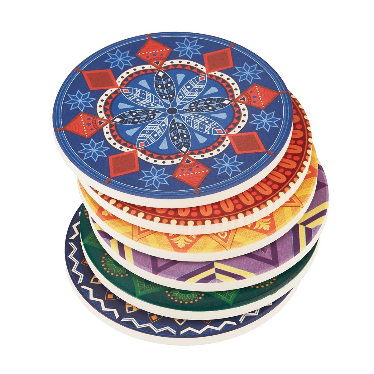 Lifver 6-Piece Absorbent Stone Coaster set,''drink'' spills coasters,Mandala Style and Dream Catcher Design