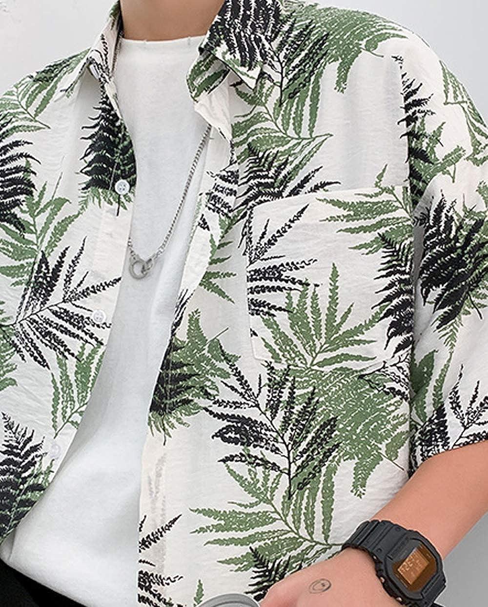 Aishang Mens Button Down Short Sleeve Loose Couple Hawaiian Shirt