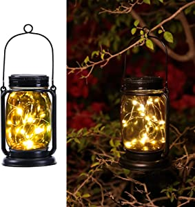 Hanging Solar Lantern, 1 Pack Solar Powered Waterproof Landscape Lanterns, 30 LEDs Solar Mason Jar Lid Fairy String Light for Patio, Yard, Garden and Pathway Decoration (Fairy Light 1 Pack)