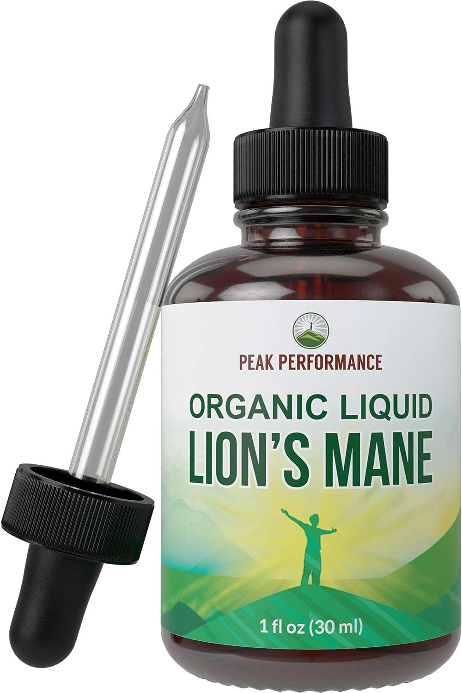 Organic Lions Mane Extract - Vegan Mushroom Liquid Tincture by Peak Performance. Lion's Mane Nootropic Supplement for Immune Support, Memory, Focus, Brain Health. Canada Grown Lion Mane Mushrooms