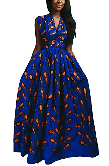 732c63a57bbaf FEIYOUNG Women's Sexy Dashiki Floral Printed Side Slit Long Maxi Dresses  Bohemian High Waist Vestidos
