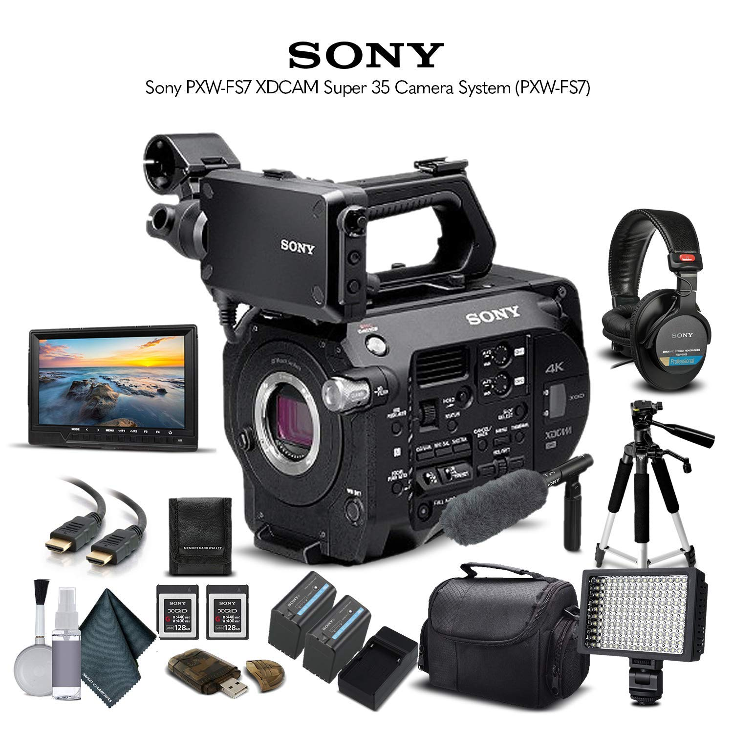 Sony PXW-FS7 XDCAM Super 35 Camera System (PXW-FS7) with 2-64GB Memory Card, 2 Extra Batteries, UV Filter, LED Light, Case, Tripod, Sony Shotgun Mic, Sony MDR-7506 Headphones - Professional Bundle by Mad Cameras