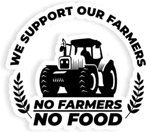 2 Pack No Farmers No Food Stickers of 10/7 inch to use on Windows/Car-Body/Mirrors/Laptops/Any Metal Surface