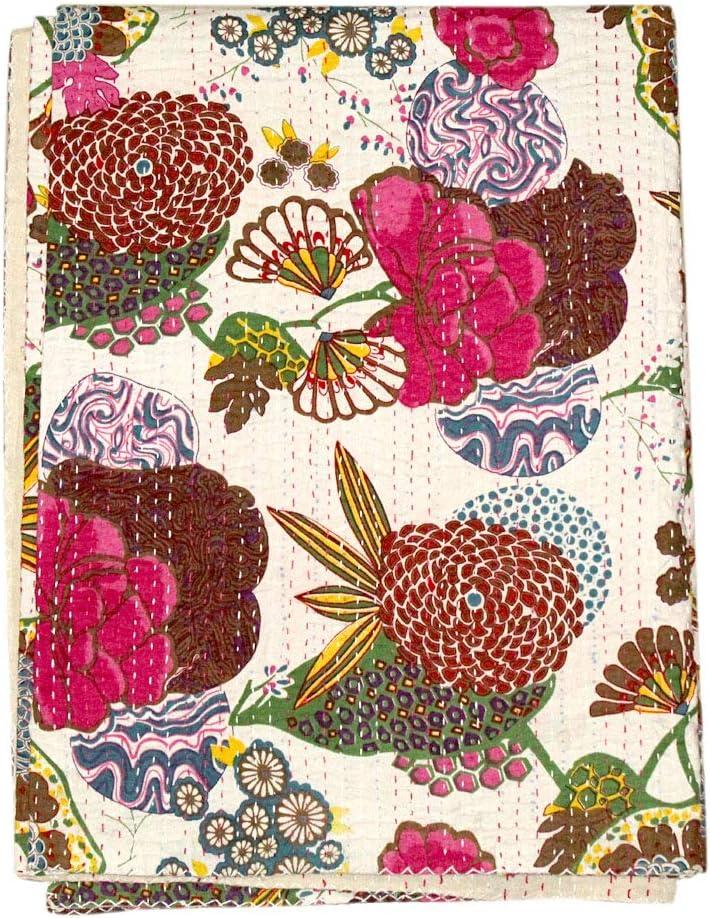 FashionShopmart Kantha Quilt Floral Print Twin Size Kantha Quilt, Kantha Blanket, Bed Cover, Twin Kantha Bedspread, Bohemian Bedding Kantha Size 90 Inch x 60 Inch, Bohemian Decor