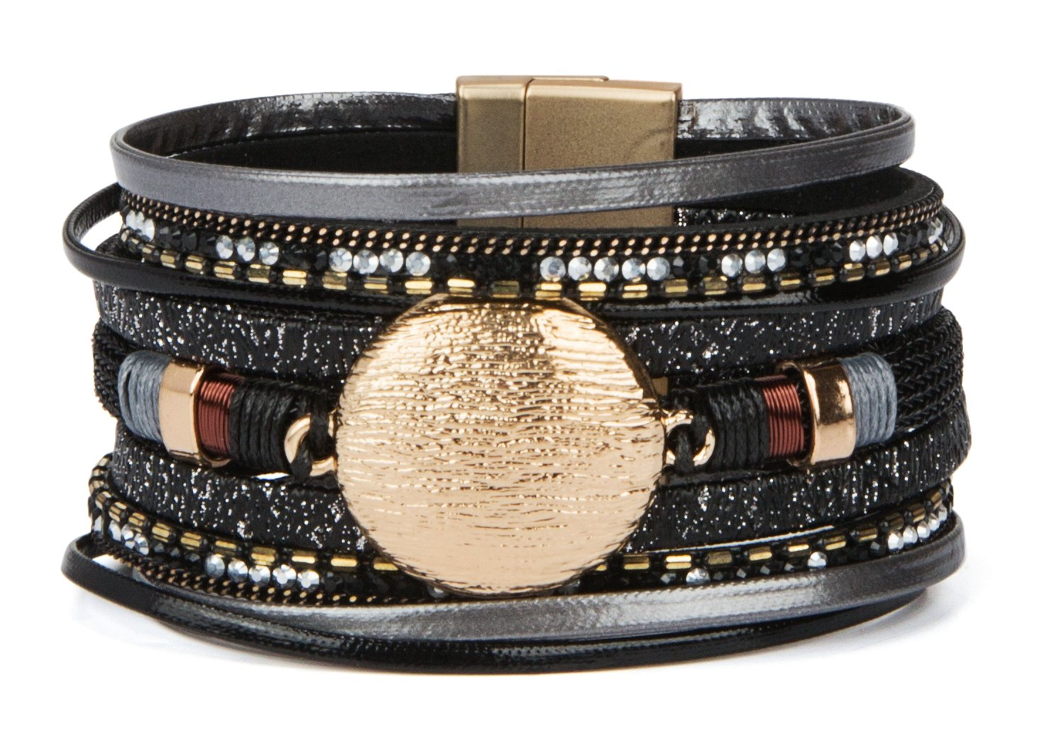 SPUNKYsoul New! Boho Bracelet Multi Strand Leather with Magnet Clasp for Women Collection (Black Disc)