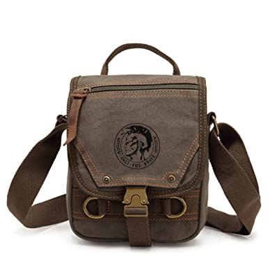 Amazon.com | Sechunk Cotton Small Leather Canvas Messenger Bag ...