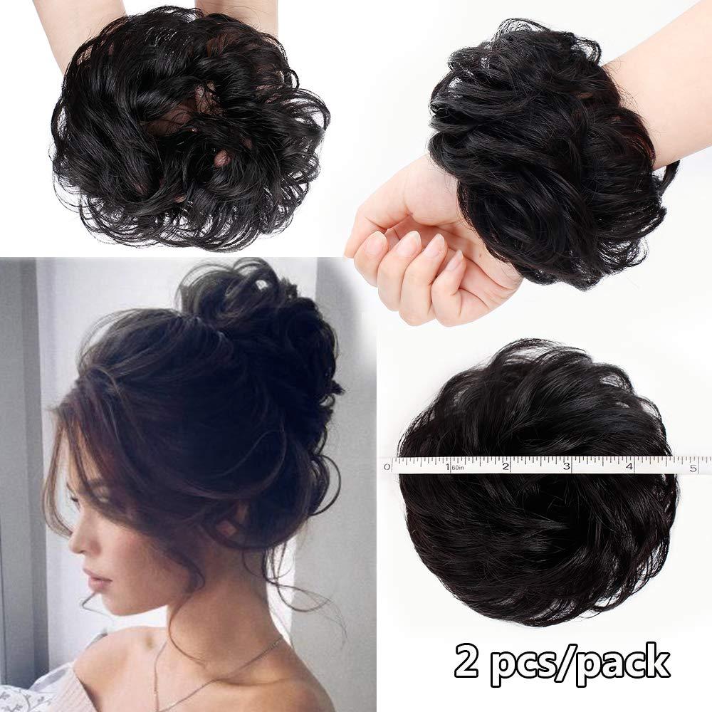 AISI BEAUTY 2PCS Messy Bun Hair Piece 100% Human Hair Scrunchies Buns Hair Pieces for Women Curly Wavy Black Bun Elegant Chignons Wedding(Natural Black) by AISI BEAUTY