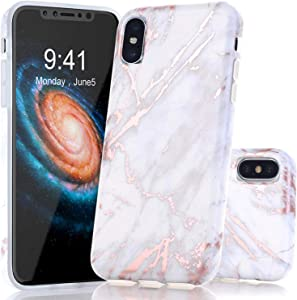 BAISRKE iPhone Xs Max Case, Shiny Rose Gold Marble Design Bumper Matte TPU Soft Rubber Silicone Cover Phone Case for Apple iPhone Xs Max 2018 6.5 inch - Light Grey