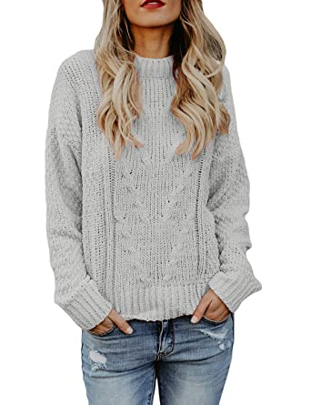 26f26b922ffa Vetinee Women Long Sleeves Soft Velvet Cable Knit Crewneck Solid Grey Sweater  Pullover Top Size S