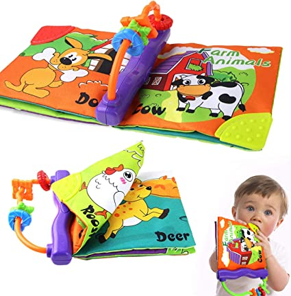 Crinkle... Rattle Squeak Coolplay Baby/'s First Non-Toxic Soft Cloth Book Set