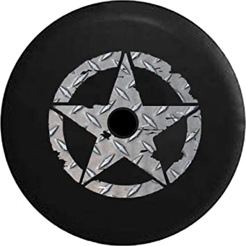 Fits: JL Accessories 2018+ JL Spare Tire Cover Oscar Mike WW2 Military Vintage Star Vintage American Flag Spare Tire Cover with Backup Camera Hole BUC Size 32 Inch