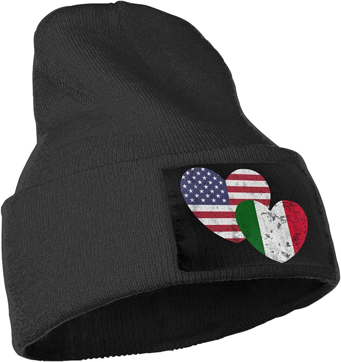 Mens Womens 100/% Acrylic Knitted Hat Cap Italian American Flag Love Warm Skull Cap