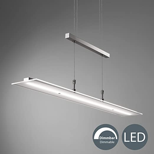 BKLicht Lámpara LED de techo colgante de metal y cristal auténtico, altura y luminosidad regulables, 20 W, 1600 lm, 3000 K, índice de protección IP20, ...