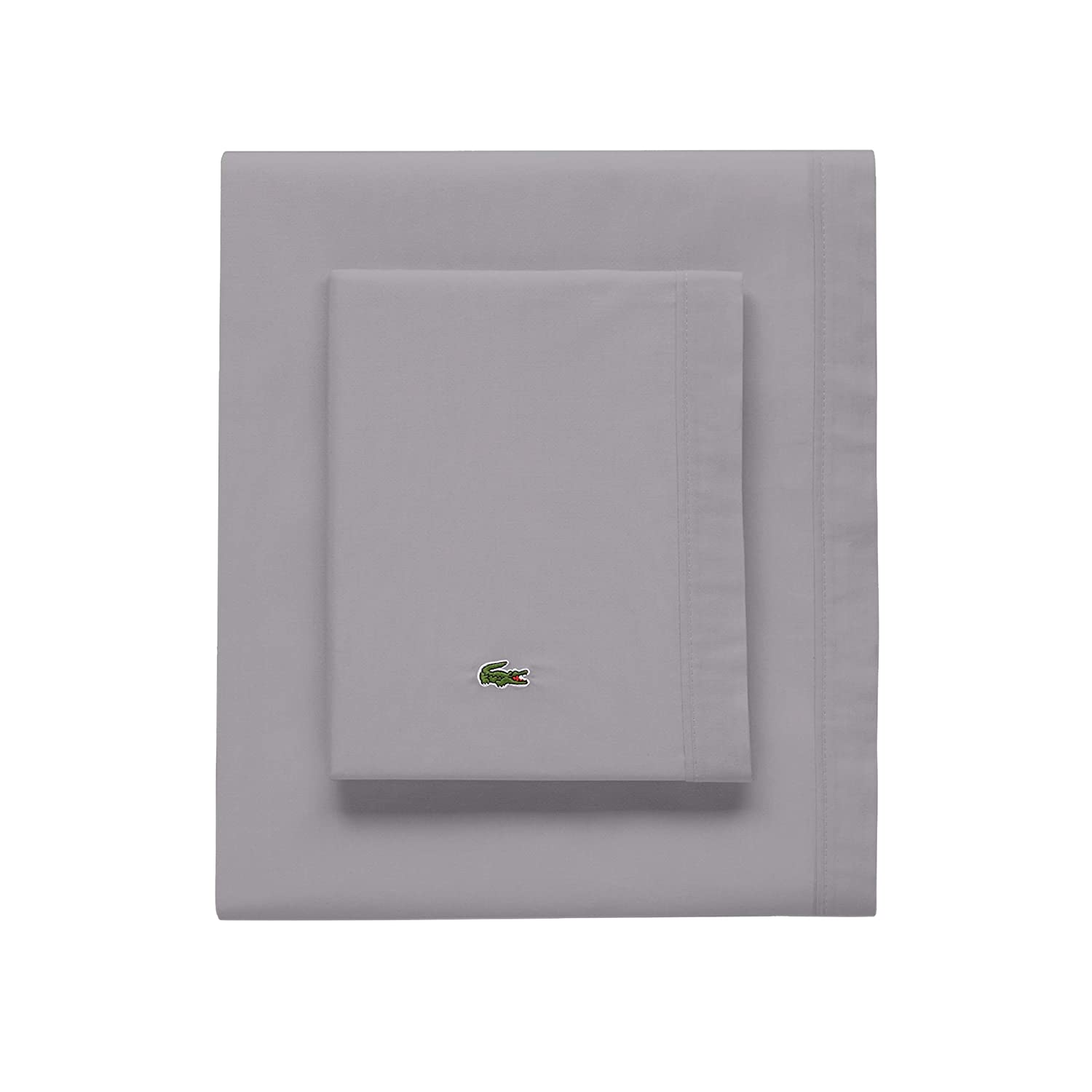 Lacoste 100% Cotton Percale Sheet Set, Solid, Sleet, King