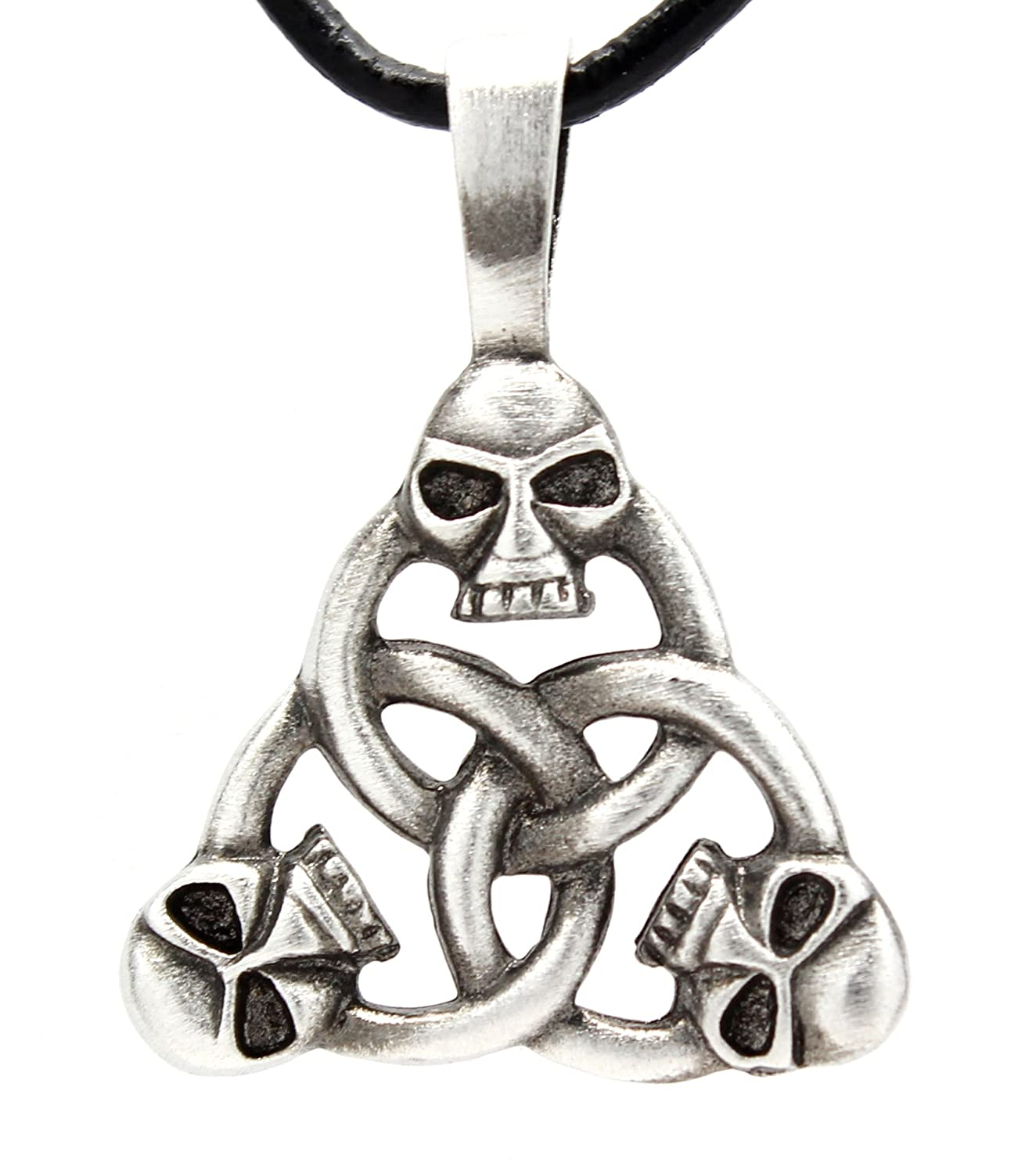 Pewter Celtic Triquetra with Skulls Pendant on Leather Necklace