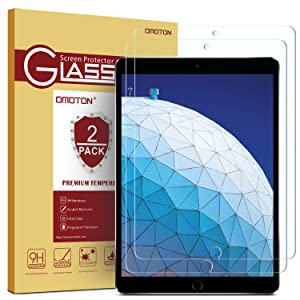 OMOTON [2 Pack] Screen Protector for iPad Air 3 10.5 inch 2019 / iPad Pro 10.5 - Tempered Glass/Apple Pencil Compatible/Scratch Resistant