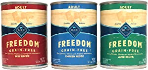 Blue Buffalo Freedom Grain Free Wet Adult Dog Food Variety Pack, 3 Flavors (Lamb, Chicken, Beef), 12.5-Ounces Each (6 cans Total)