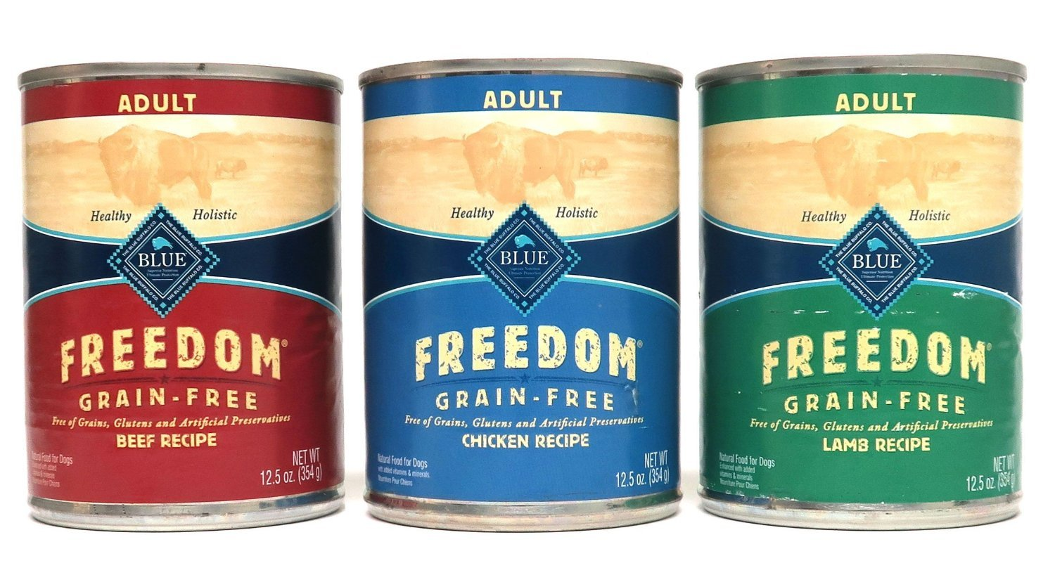 Blue Buffalo Freedom Grain Free Wet Adult Dog Food Variety Pack, 3 Flavors (Lamb, Chicken, & Beef), 12.5-Ounces Each ( 6 cans total )