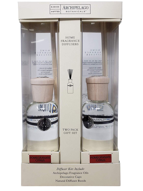 Archipelago Botanicals Home Fragrance Reed Diffusers 2 Pack Gift Set, 4FF55 (Pomegranate Citrus)
