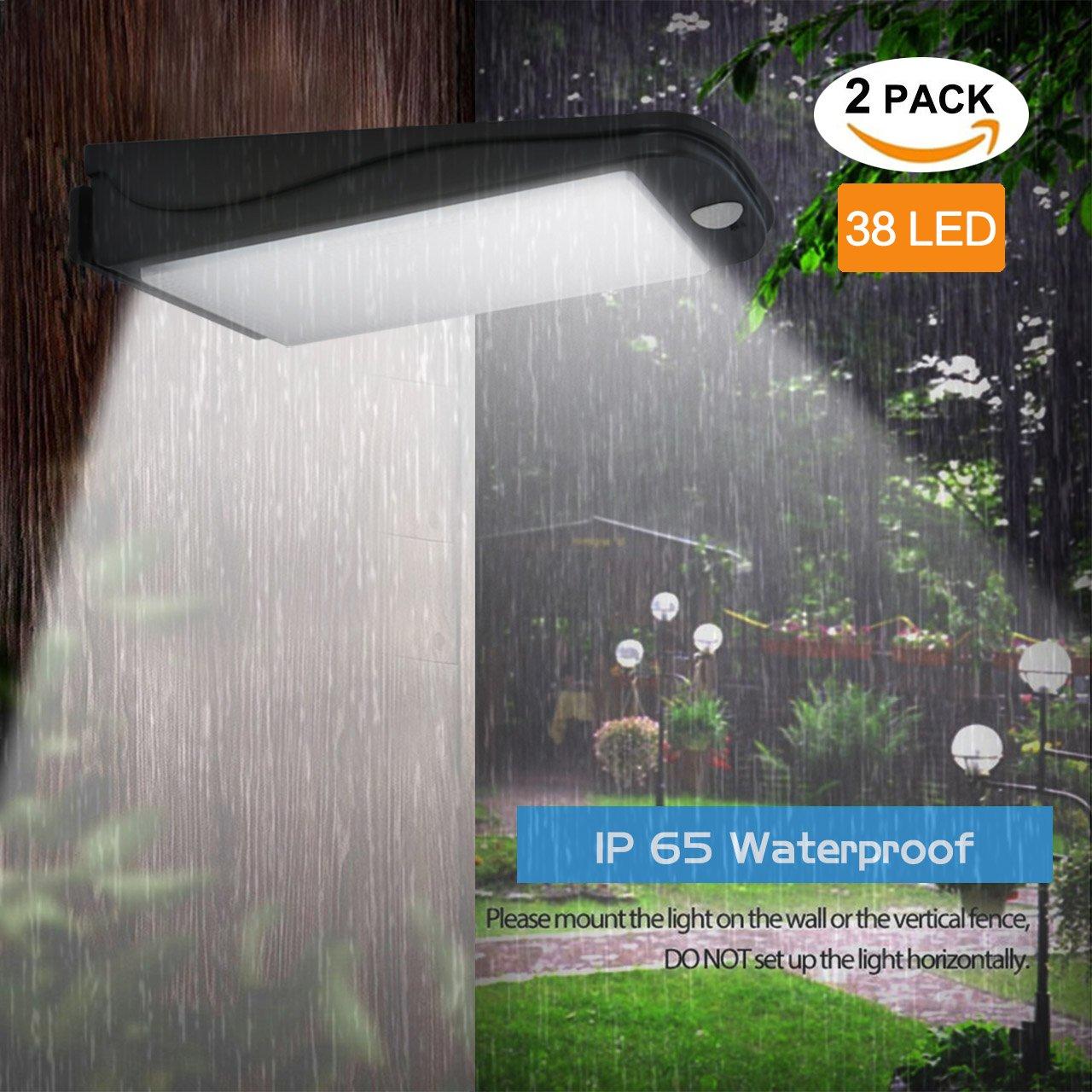 Solar Motion Sensor Lights Outdoor,Aityvert Super Bright 300 Lumen Aluminum Material Spotlight Waterproof Wireless Security Wall Light for Garden,Patio,Deck,Yard,Driveway (2 Pack)
