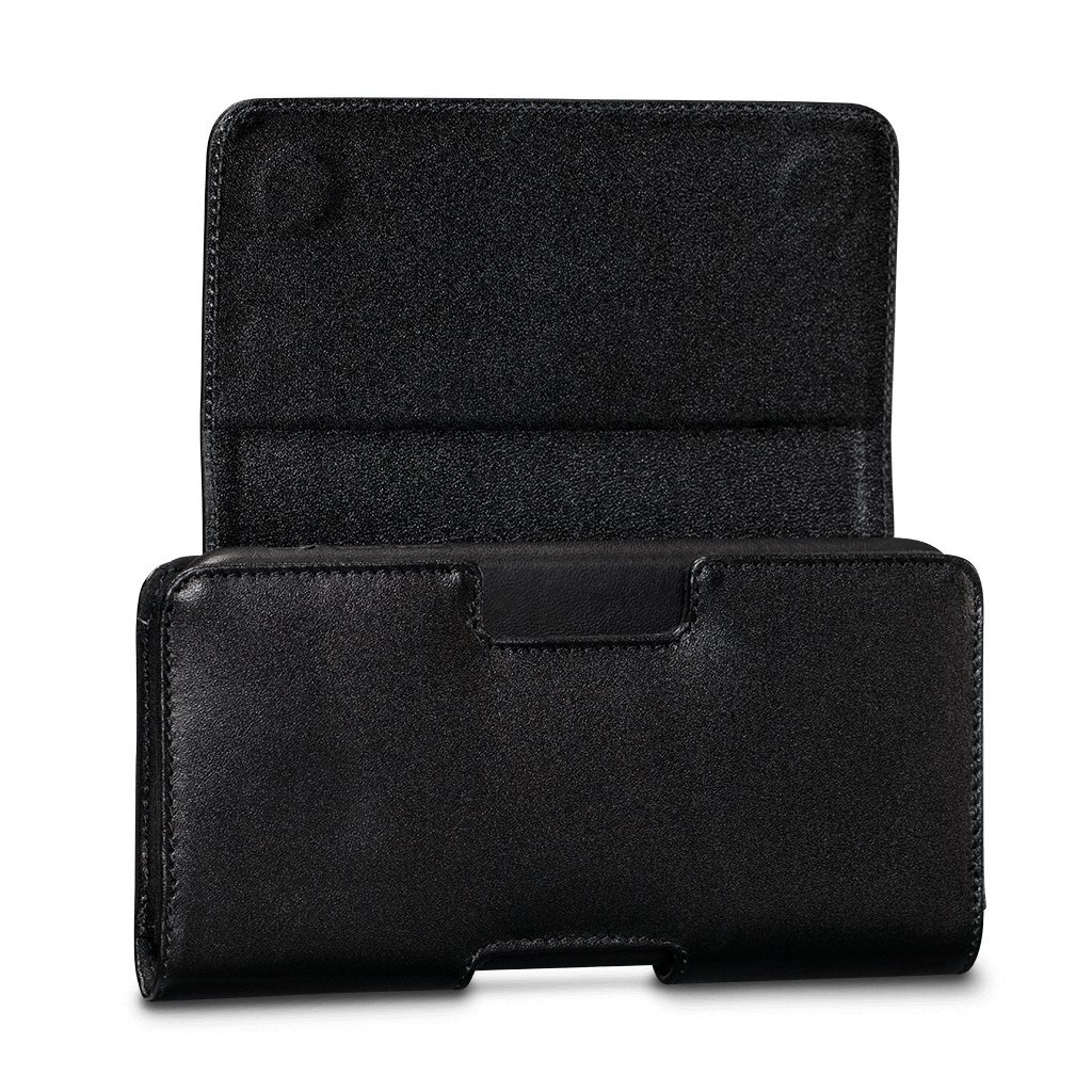 Universal Magnetic Holster Leather Case for iPhone Xs/X / 8 Plus / 7 Plus / 6s Plus / 6 Plus (Black, Large Size Phone)