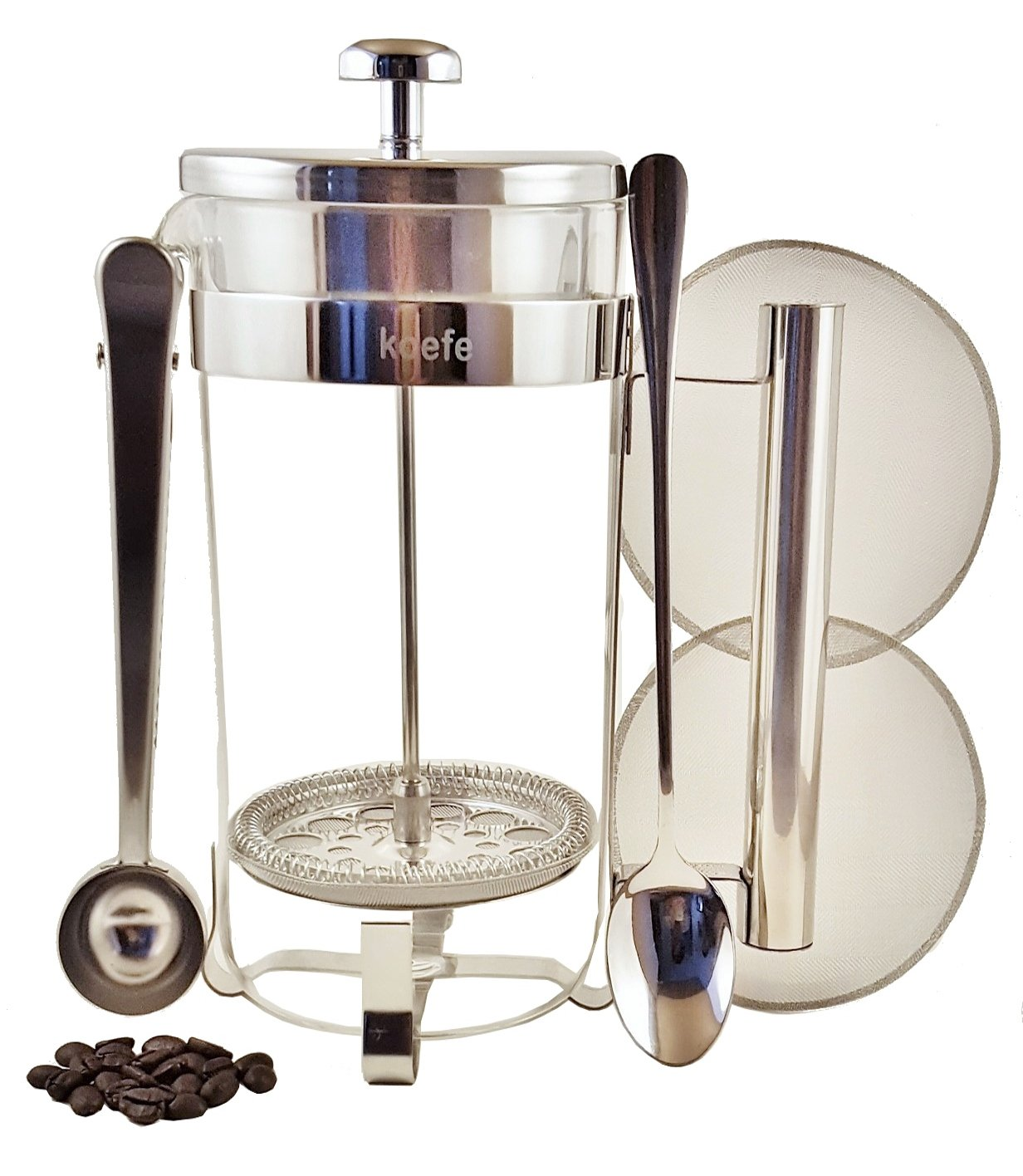 Classic French Press Coffee, Expresso & Tea Maker Complete Bundle Set   34 Oz, 8 Cups   Best Stainless Steel Coffee Press Pot with Double German Glass